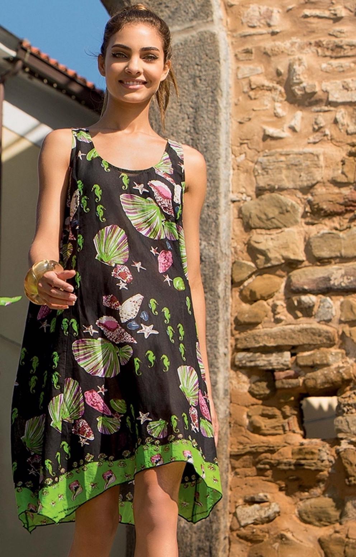 458b94e483e109 Чорне жіноче плаття для пляжу з принтом, широке до колін Iconique ...