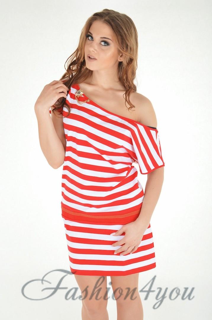 b1eeba31ee4fb5 Смугасте пляжне плаття, з зав'язкою Ora 300308/2 - фото №2